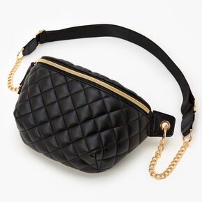 Gold Chain Quilted Fanny Pack - Black,