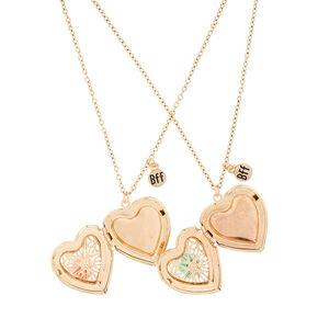 Best Friends Rose Locket Pendant Necklaces - 2 Pack,