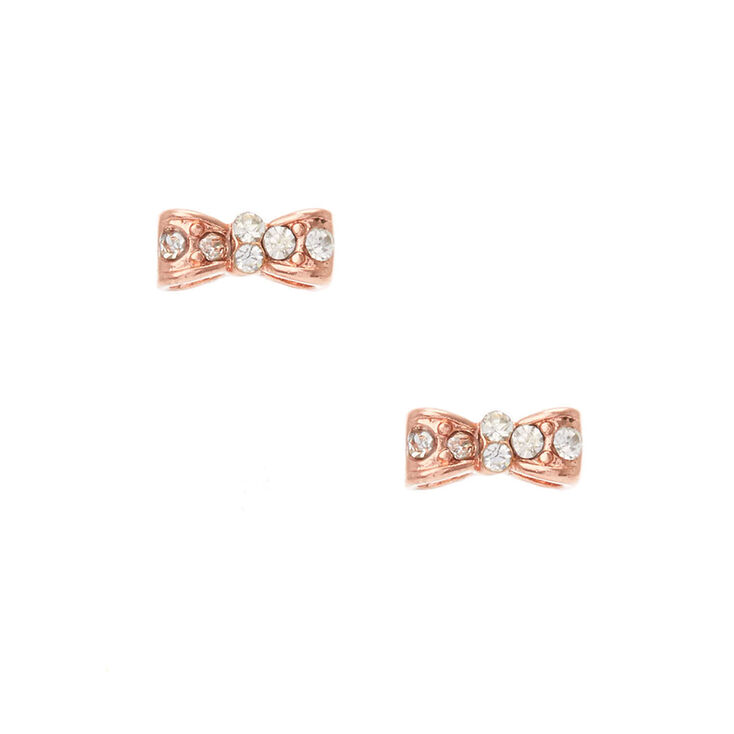 18kt Rose Gold Plated Crystal Bow Stud Earrings