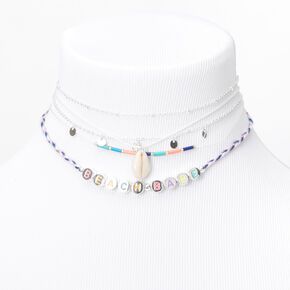 Silver Beach Babe Mixed Choker Necklaces - 5 Pack,