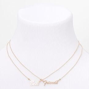 Gold Best Friends Word Pendant Necklaces - 2 Pack,