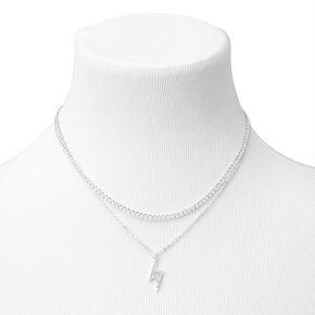 Silver Lightning Bolt Chain Multi Strand Necklace,