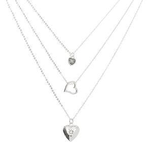 Silver Heart Multi Strand Necklace,