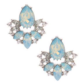 Silver Embellished Teardrop Stud Earrings - Turquoise,