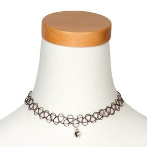Silver Heart Charm Tattoo Choker Necklace,