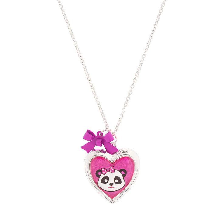 Kids Panda Heart Locket Necklace Claires