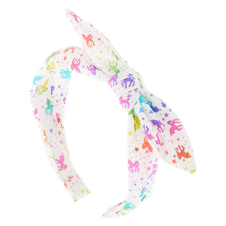 Rainbow Unicorn Foil Knotted Bow Headband,