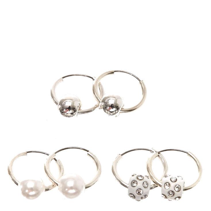 28ada0345 Silver-tone Mini Beaded Hoop Earrings   Claire's US