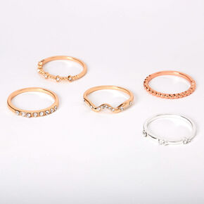 Mixed Metal Embellished Stone Rings - 5 Pack,