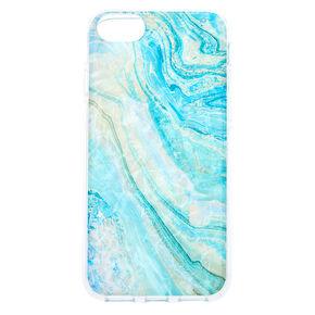 Coque de portable coquillage effet marbré turquoise - Compatible avec iPhone 6/7/8/SE,