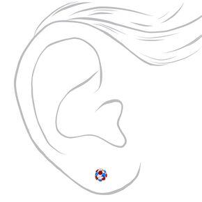 Sterling Silver Red, White & Blue Crystal Fireball Stud Earrings,