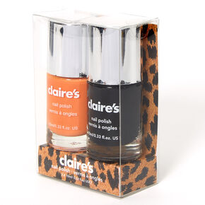 Solid Nail Polish Set - Black/Orange, 2 Pack,