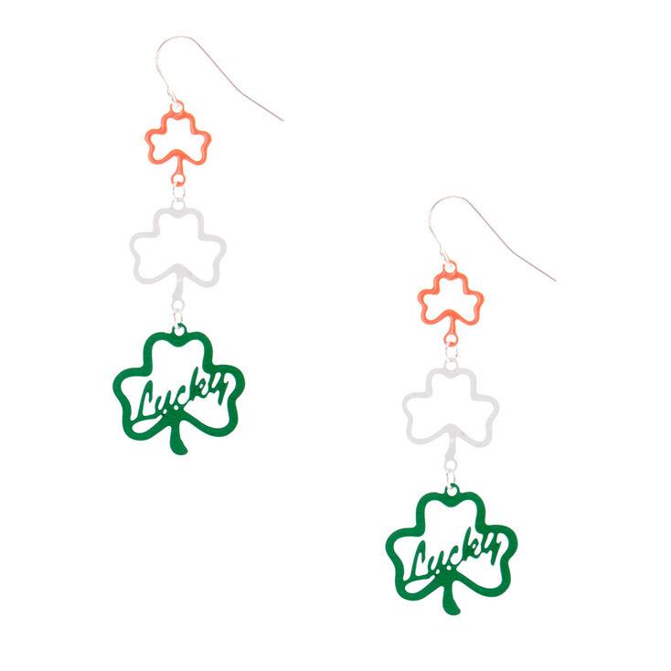 """2"""" Lucky Shamrock Drop Earrings,"""