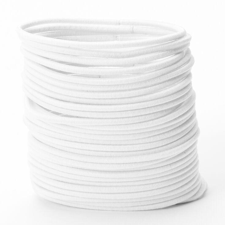 Luxe Elastic Hair Ties - White, 30 Pack,