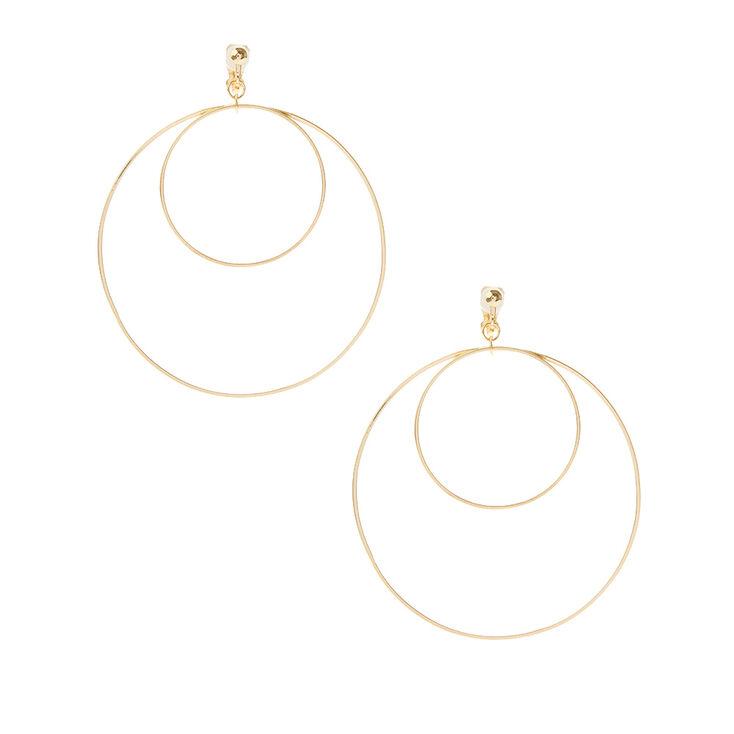 Gold Double Hoop Clip On Earrings
