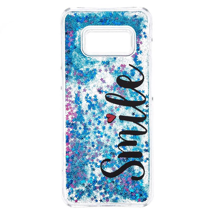 outlet store 4fe2b de946 Blue Glitter Smile Liquid Fill Phone Case - Fits Samsung Galaxy S8