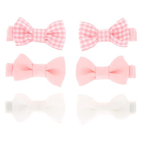 Claire's Club Gingham Hair Bow Clips - Pink, 6 Pack,