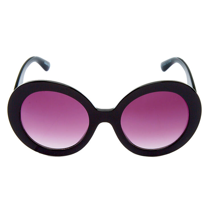 Oversized Round Mod Sunglasses - Black,