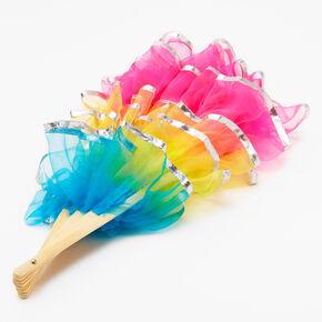Rainbow Tulle Large Folding Fan,