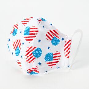 American Flag Hearts Face Mask - Adult,