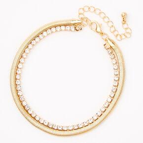 Gold Snake Chain & Rhinestone Multi Strand Anklet,