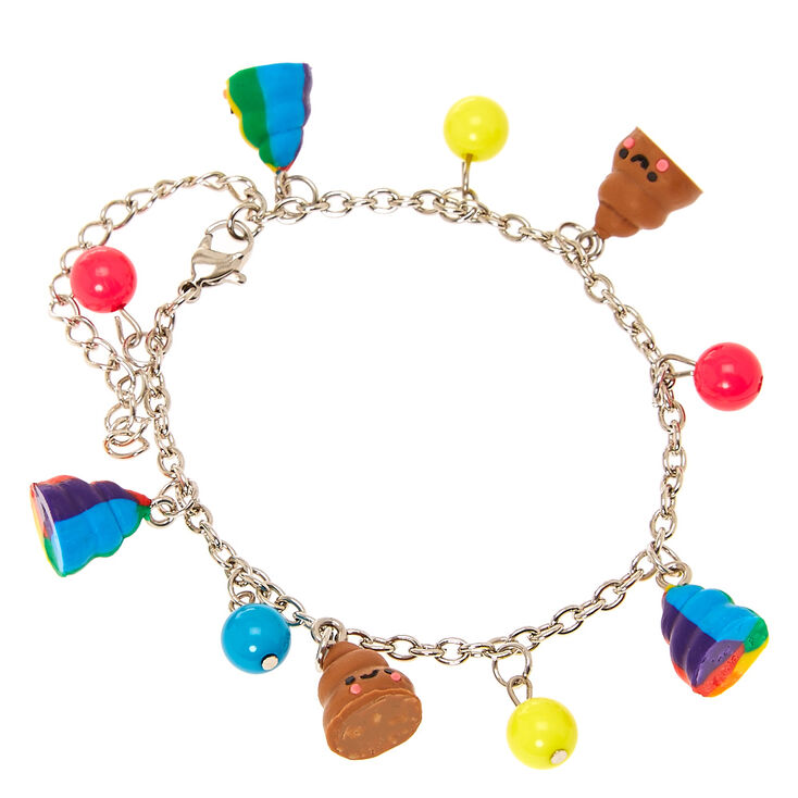 Smiling Pile Of Poo Coloured Beads Charm Bracelet
