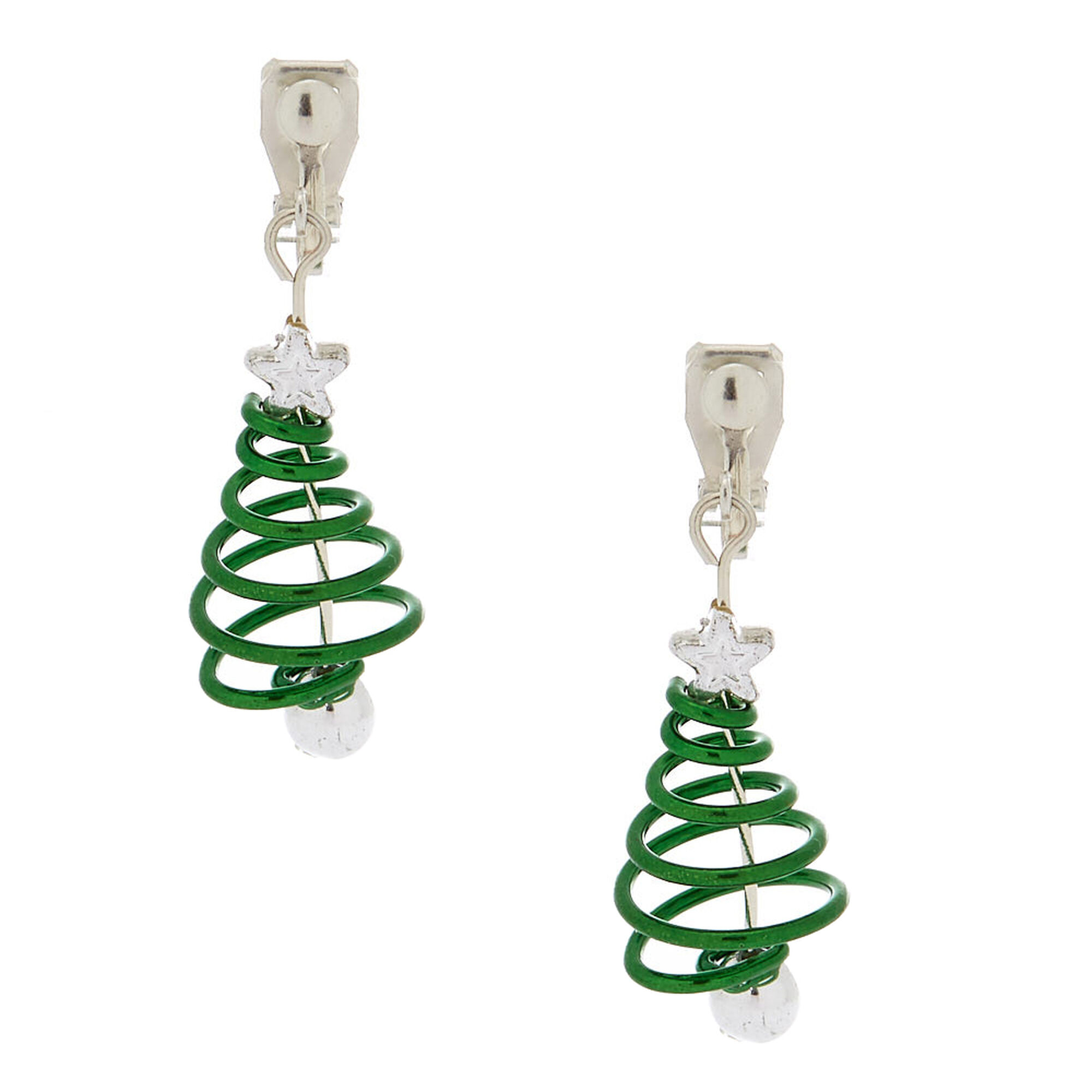 1 spiral christmas tree clip on drop earrings