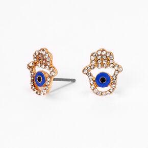 Gold Hamsa Hand Stud Earrings - Blue,
