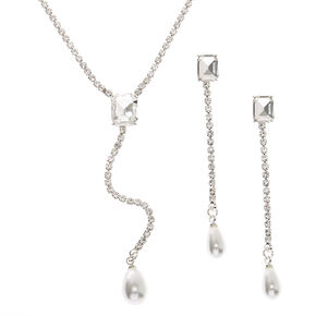 Silver Rhinestone Y-Neck Jewellery Set - 2 Pack,