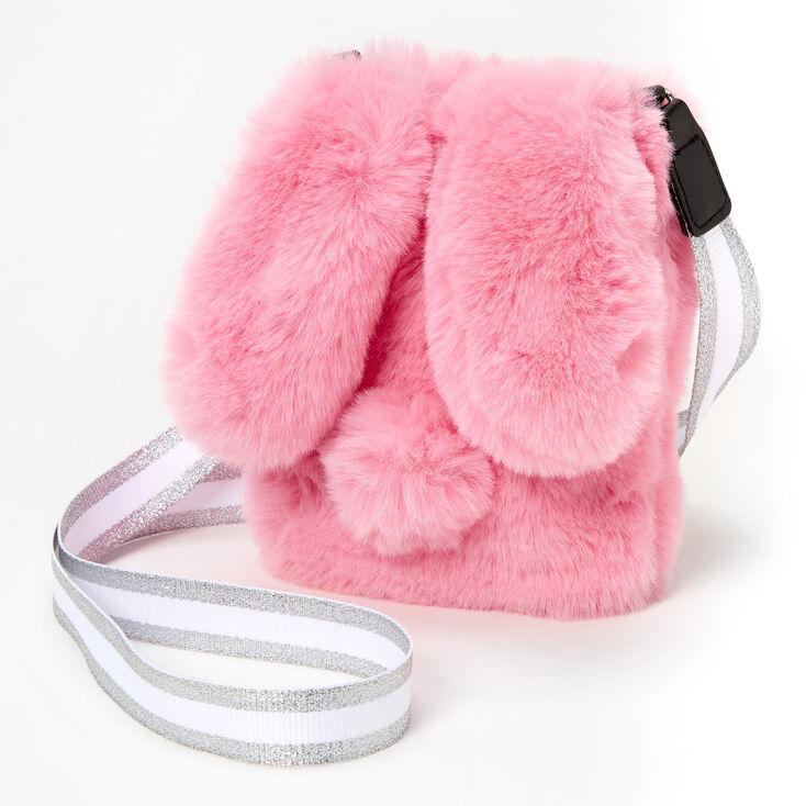 Furry Bunny Rabbit Crossbody Bag - Pink,