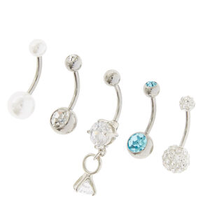 Silver Bridal Bling Belly Rings - 5 Pack,