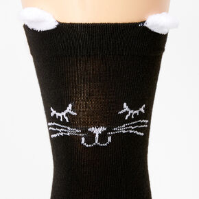 Cat Over The Knee Socks - Black,