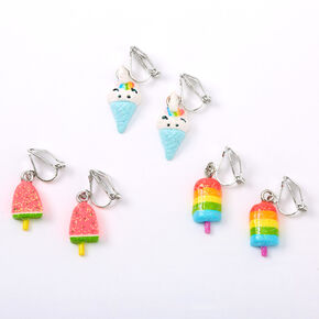 Silver Glitter Popsicle Ice Cream Clip On Earrings - 3 Pack,