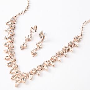 Rose Gold Silk Stone Eyelet V Jewelry Set - 2 Pack,
