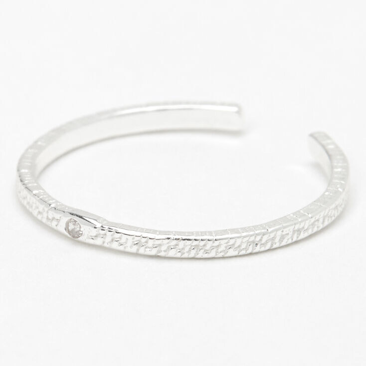 Sterling Silver Textured Thin Band Toe Ring,