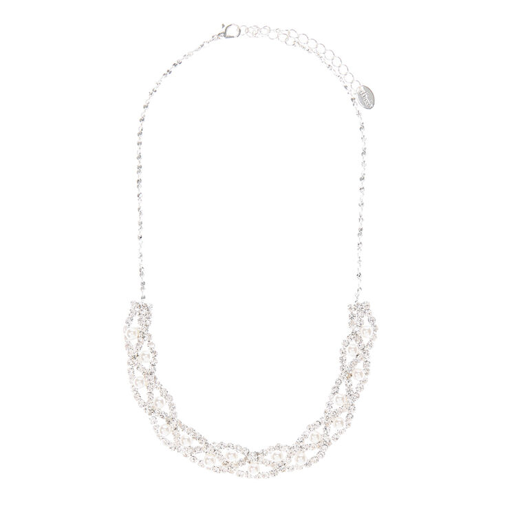 Twisted Crystal Chains with Pearls Necklace,