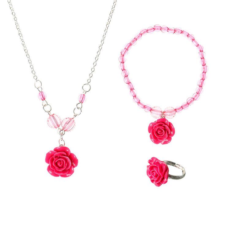 Parure de bijoux rose motif rose pour enfants,