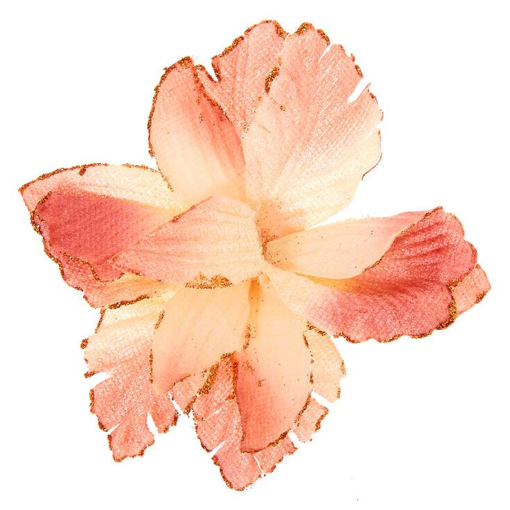 Velvet Glitter Flower Hair Clip - Blush Pink,