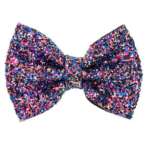 Space Glitter Hair Bow Clip - Purple,