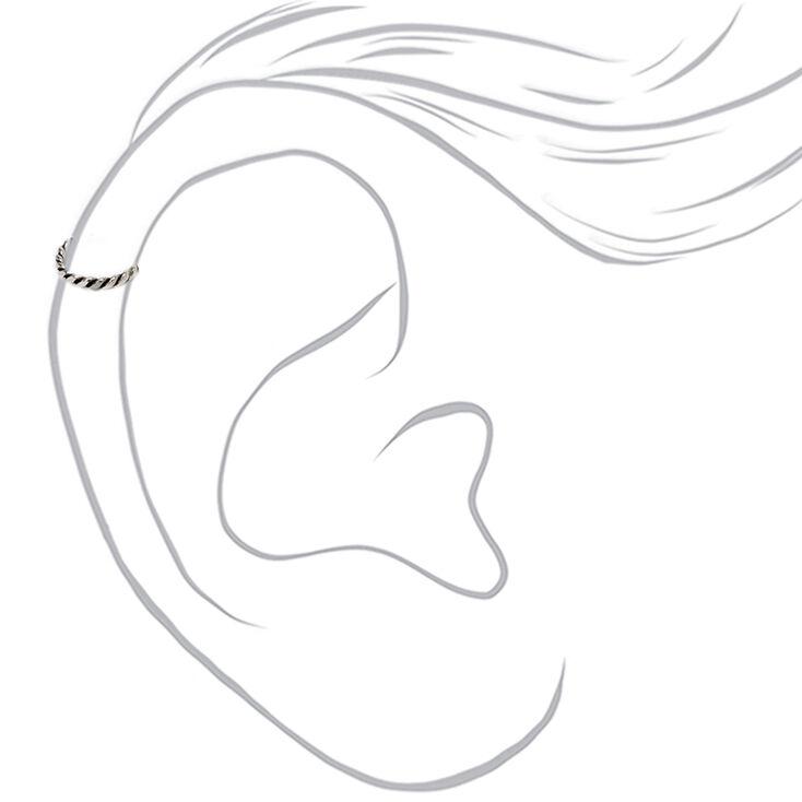 Anneau de cartilage torsadé 22g couleur argentée,