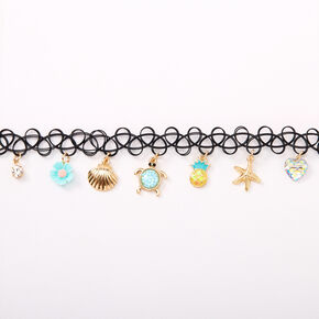 Gold Under The Sea Tattoo Choker Necklace - Mint,