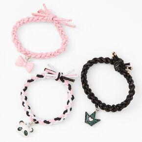 Pink Panda Braided Stretch Bracelets - 3 Pack,