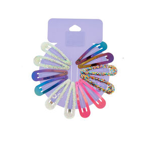 Anodized Glitter Hair Snap Clips,
