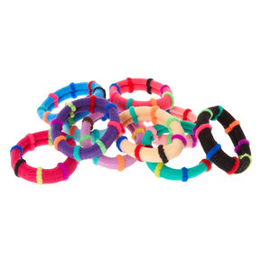 Rainbow Striped Thick Hair Ties - 10 Pack,