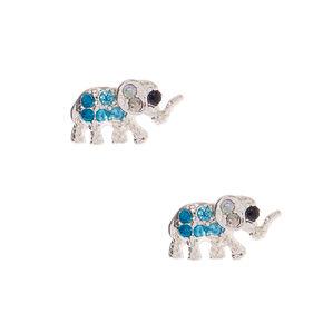 Silver Elephant Earrings - Blue,