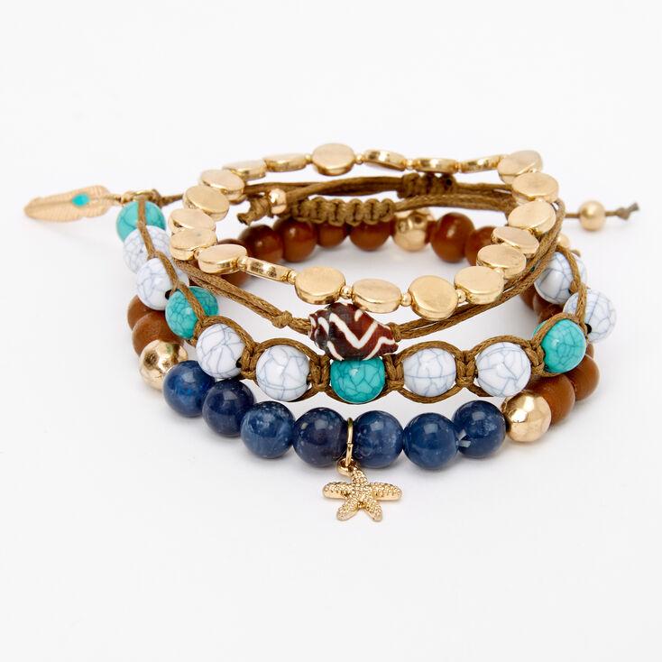Starfish & Seashell Beaded Bracelets - 4 Pack,