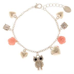 Silver Owl Charm Bracelet,