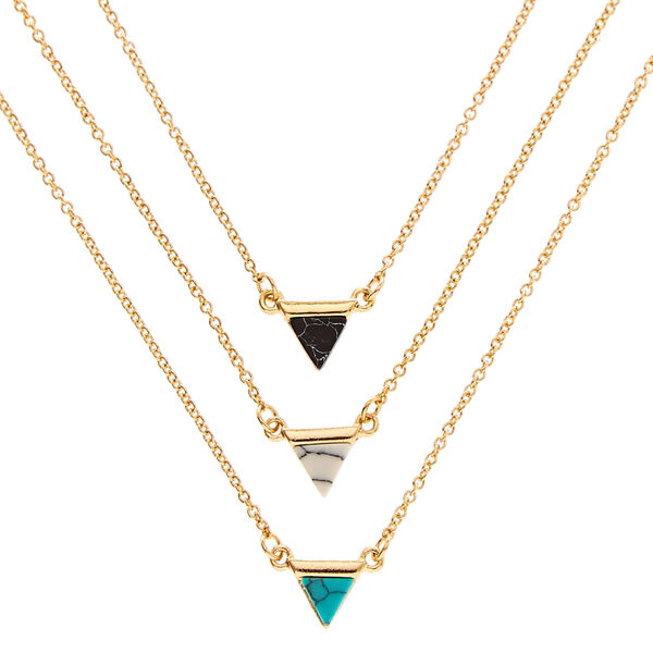 Claire's - 3 pack tone marble triangle necklaces - 1