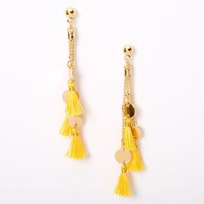 """Gold 2.5"""" Disc Tassel Drop Earrings - Yellow,"""