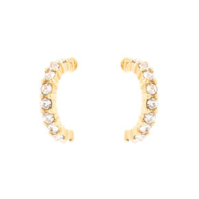 18kt Gold Plated Crystal Half Hoop Earrings,